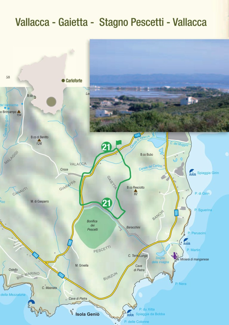Itinerario trekking 21 - Vallacca - Gaietta - Stagno Pescetti - Vallacca ( Isola di San Pietro - Sardegna )